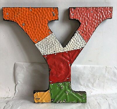 "Antique Tin Ceiling Wrapped 12"" Letter Y'' Patchwork Metal Multi Color F18"