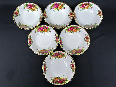 6 OLD COUNTRY ROSES 13.5cm FRUIT BOWLS, 1st QUALITY, GC, 1973-93, ROYAL ALBERT