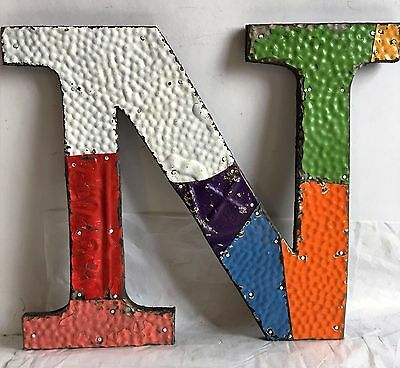 "1890's Antique Tin Ceiling Wrapped 12"" Letter 'N'' Patchwork Multi Color F19"