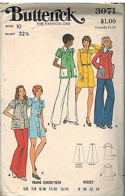 3071 Vintage Butterick Sewing Pattern Misses Dress Smock Top Pants Button Front
