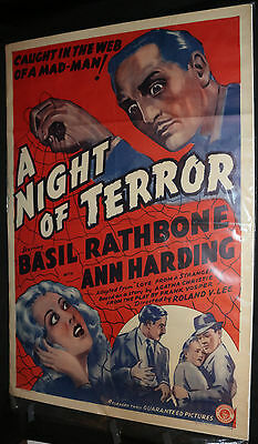 Love from a Stranger (A Night of Terror) Movie Poster Basil Rathbone (C-6) 1937