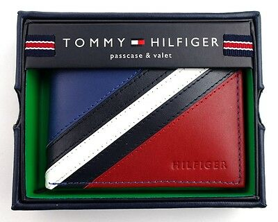 New Tommy Hilfiger Men's Leather Wallet Passcase Billfold Red Navy 31Tl22X051