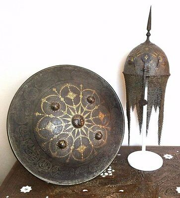 Islamic Persian Warrior Helmet & Shield .