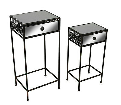 Set of 2 Blackened Antique Copper Finish Mirrored Metal Mesh Stands w/Drawer
