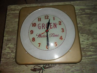 Vintage Original GRUEN WATCH TIME Advertising WALL CLOCK SIGN - WORKS