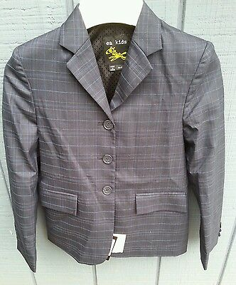 NWT EA EQUINE ATHLETICS Kids 12 Blue Windowpane Stretch Show Jacket Hunt Coat