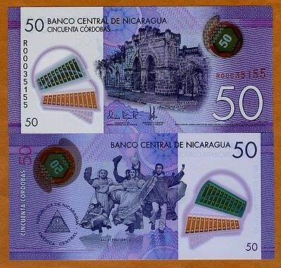 Nicaragua, 50 cordobas, 2014 (2015), P-218, POLYMER, UNC > R-REPLACEMENT