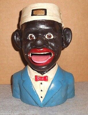 BELL HOP BLACK BOY MECHANICAL BANK Swallows Coin Eyes Roll Twist Ear AWESOME!