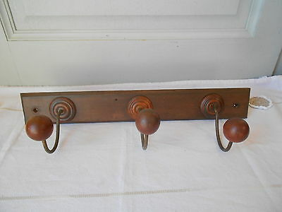 Antique French wood + iron COAT Rack w/ 3  Wood PEGS HOOKS great pattern
