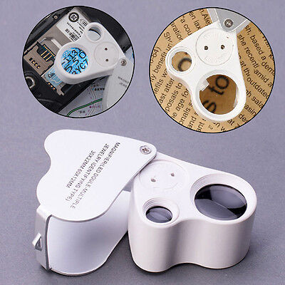 New 30x 60x Glass Magnifying Magnifier Jeweler Eye Jewelry Loupe Loop LED Light