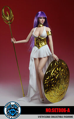 SUPER DUCK COSPLAY Saint Seiya Athena Clothing & Head Set A 1/6 Fit Phicen Body