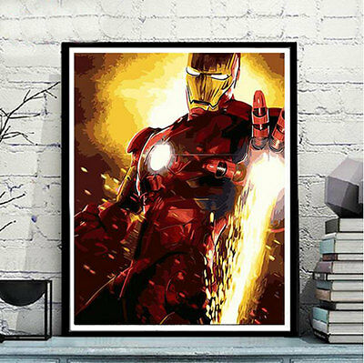 Framed Painting by Number kit Iron Man Marvel Comics Superhero Movie DIY JC7517