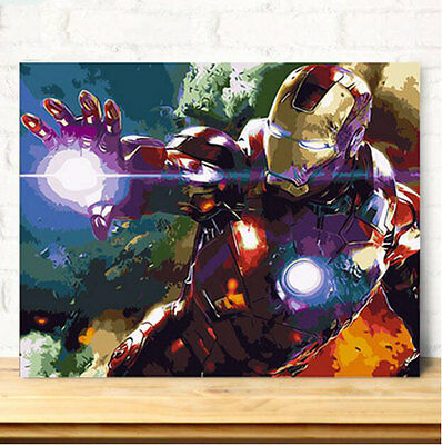 Framed Painting by Number kit Iron Man Marvel Comics Superhero Movie DIY JC7518