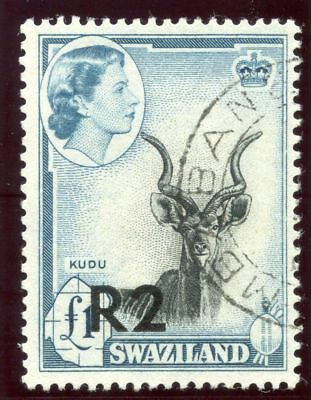 Swaziland 1961 QEII 2r on £1 black & turquoise-blue Type I VFU. SG 77. Sc 79a.