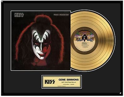 KISS Gene Simmons Solo Limited Ed. Framed 18X24 24KT Gold LP Collection/2500