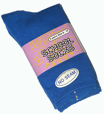 12 Pairs Boys Sz 9-12 Royal Blue Cotton School Socks