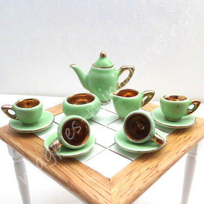 Dolls house 12th scale Coffee Set - 1930s style green and gold ornamental