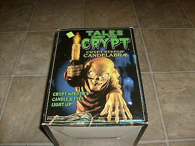 Tales From the Crypt Keeper Candelabra Halloween Candle Light w Book Works 1996