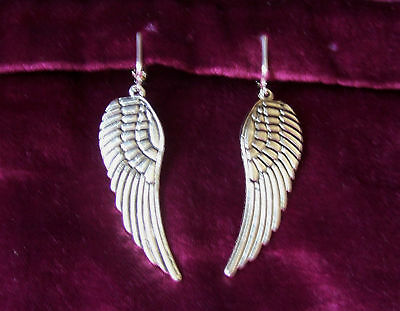 Large Tibetan Silver Tone Angel Wing Clip-On Earrings