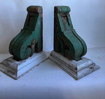 "Antique Pair(2) 1890's Corbels Brackets Gingerbread Green & White 13.5"" A"