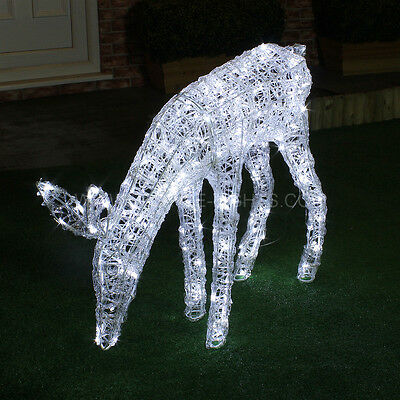3Ft Mains Outdoor Garden Acrylic Twinkling Deer Christmas Silhouette Led Light