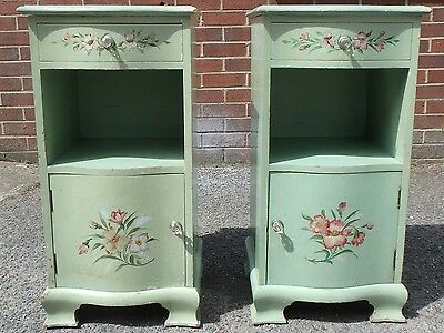 Pair 2 Art Deco vintage country floral painted green bedside cabinet cupboards
