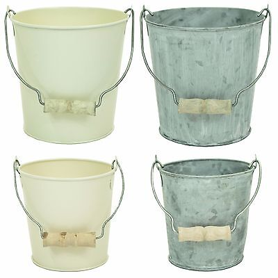 Vintage Cream or Galvanised Metal Bucket Kitchen Office Storage Plant Herb Pot