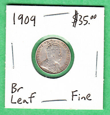 1909 Canada - 10 Cents Silver Coin - Fine - Broad Leaf