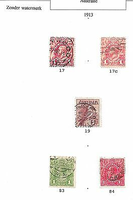 Australia stamps 1913 collection of 5 stamps  CANC  VF  HIGH VALUE!