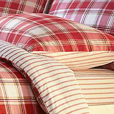Catherine Lansfield Red Cream Stripe Brushed Cotton Flannelette Fitted Bed Sheet