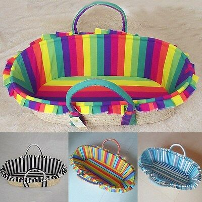New Baby Moses Basket Striped Newborn Infant Bassinet Outdoor Nursery Cradle Bed