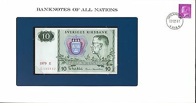"""Sweden ~ 1963-1990 ~ 10 Kronor Note ~ Cu ~ """"banknotes Of All Nations"""""""