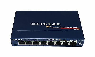 Netgear FS108 v2 8-Port 10/100Mb/s Fast Ethernet Switch bundle With AC Adapter