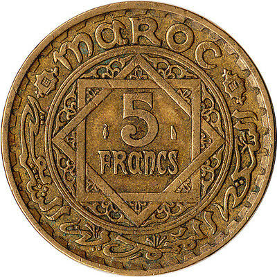 1945 (AH1365) Morocco (French) 5 Francs Large Coin Y#43