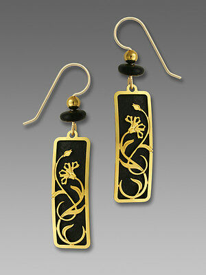 Adajio BLACK Column EARRINGS with Art Nouveau Floral Overlay Gold Plated + Box