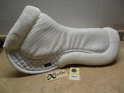 Exselle White Maxtra Memory Foam Back Relief  English Non-Slip Saddle Half Pad