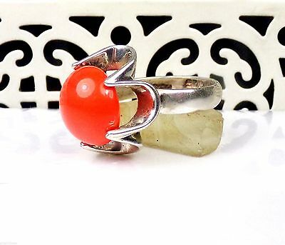 Old Taxco Sterling Silver Ring Coral Art Glass Modernist 925 Band Mexico