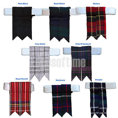 Pair Scottish Mens Tartan Kilt Sock Hose Flashes Elastic Hook-And-Loop Garter