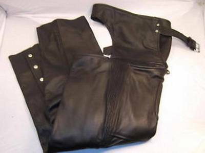 New Zony Black Leather Men's Motorcycle Biker Chaps Size XL Retail $139.