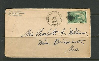 USA;  1900 early local used 1c. COVER West Bridgewater Mass.