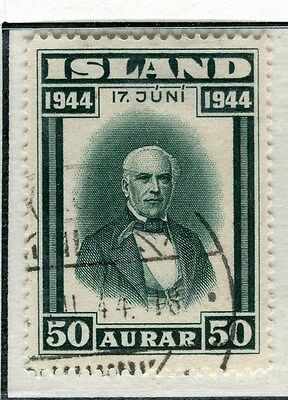 ICELAND;   1944 early Proclamation Republic issue fine used 50a. value
