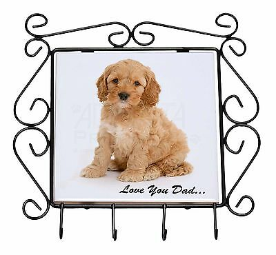 Cockerpoodle 'Love You Dad' Wrought Iron Key Holder Hooks Christmas Gi, DAD-19KH