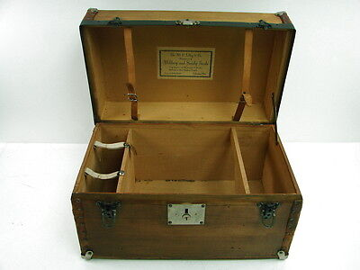 Antique M.C. Lilley & Co. Military and Society Goods Wood Chest Salesman Sample