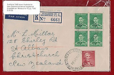 1940 Australia Cover Australia to New Zealand commercial registered