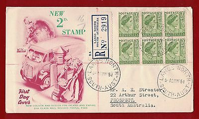 1951 Australia Definitives SG 237 First Day Cover registered Largs North 28.3.51