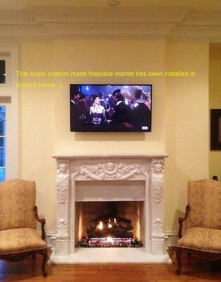 Custom-made mantel installed in buyer's home! Own Size Marble Hand Carved Mantel • CAD $2,734.20
