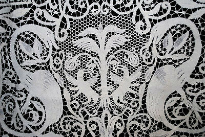 Antique Tablecloth Italian Cantu Bobbin Lace Figural Adam And Eve Banquet 190""