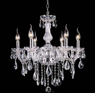 Provincial Vintage Chandelier Light French Crystals Glass 6 Arms Light Clear