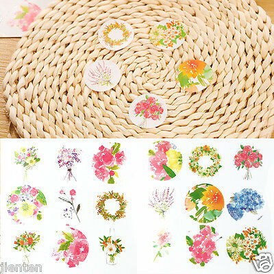 18Pcs Hot Paper Fashion 'Flower' Shape Sticker Decor Baking Gift Sealing Paste