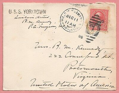 1899 Philippines Military Station No 1 Manila Cancel Uss Yorktown Ship To Usa